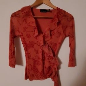 The Limited Red Sheer Long Sleeve Blouse - S